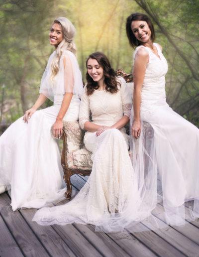 Girls wearing wedding dresses