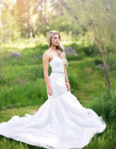 A full mermaid wedding gown in satin