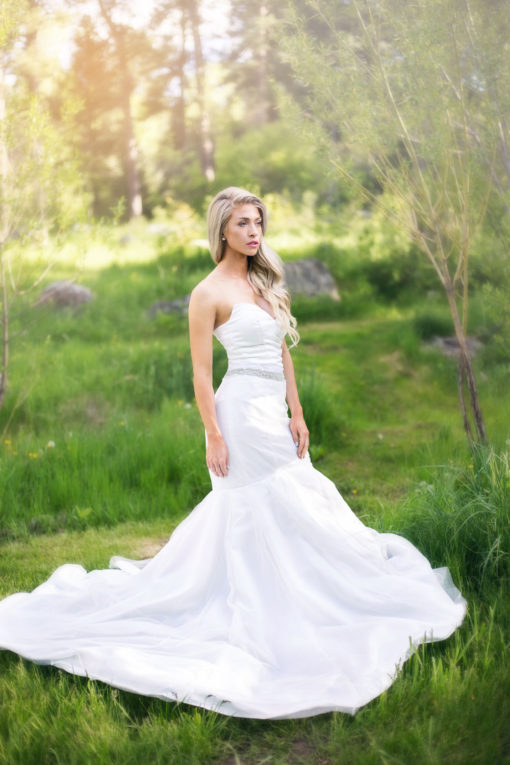A full mermaid wedding gown in satin
