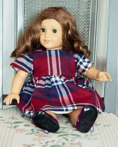 "18"" Plaid Doll Dress"